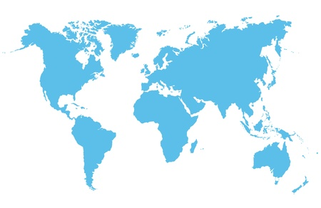 Detailed vector map of the world on a white background