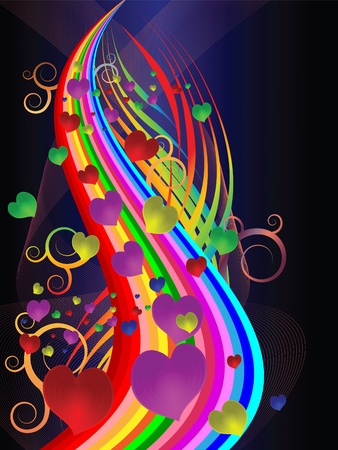 Bright festive illustration with colored stripes and hearts