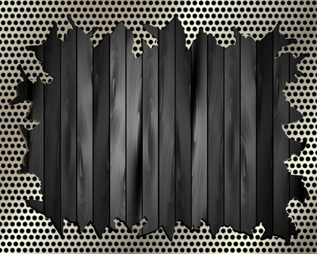 Torn metal grill on wooden background for your design