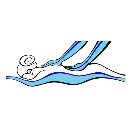 Ilustración de Spa  Massage Icon  Woman doing hand massage - Imagen libre de derechos