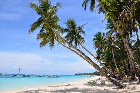 Beautiful white sand beach in Boracay Philippines