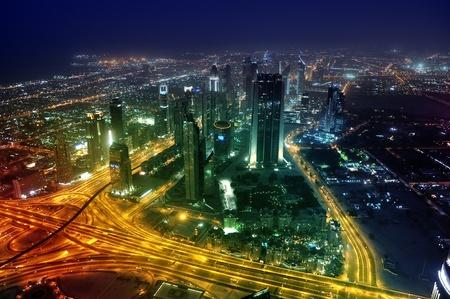 Panorama Dubai city at night. Sheikh Zayed Road. united arab emirates