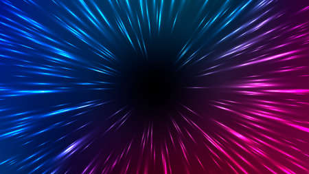 Illustration pour Vector illustration of faster than light (FTL) interstellar or intergalactic travel. Speed of light and hyperspace. Colorful design template for poster, banner, cover, catalog, wallpaper. - image libre de droit