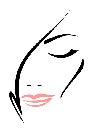 Beautiful woman s face with closed eyes on white background