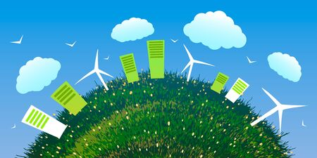 Illustration pour World Environment Day. Abstract ecological city with wind farms on green grass. - image libre de droit