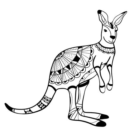 Illustration pour Coloring book, coloring page, animal, kangaroo, pattern, vector - image libre de droit