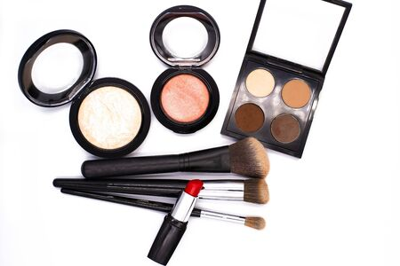 Photo for set of professional decorative cosmetics, makeup tools and accessory on white background with copy space for text. beauty, fashion, party and shopping concept. flat lay frame composition, top view. - Royalty Free Image