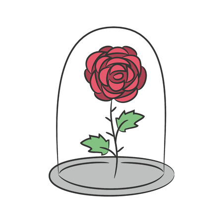 Illustration for Rose in a flask of glass. on the white background for your design. Vector illustration. - Royalty Free Image