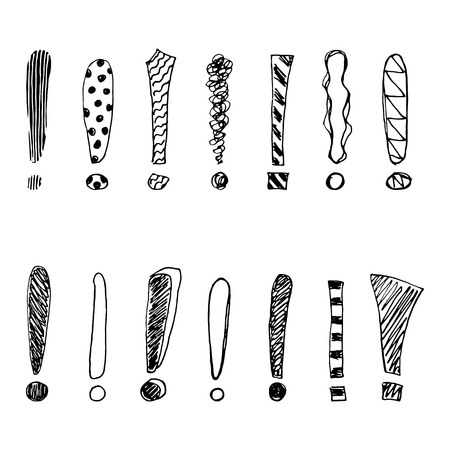 Set of grunge sketch exclamation marks. Vector illustration.