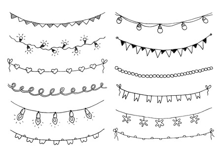 Illustration pour Set of hand drawn sketch garlands with flags and light bulbs. Vector illustration. - image libre de droit