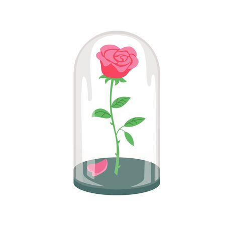 Illustration pour Rose in a flask of glass on the white background. Vector illustration. - image libre de droit