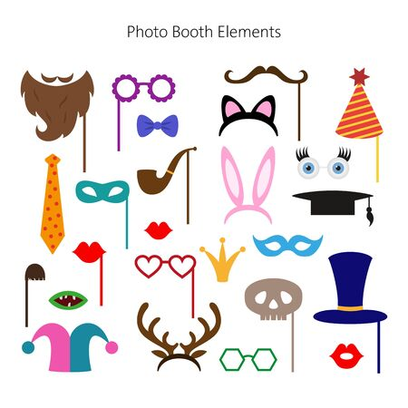 Illustration pour Set of different piece photo booth props. Vector illustration. - image libre de droit