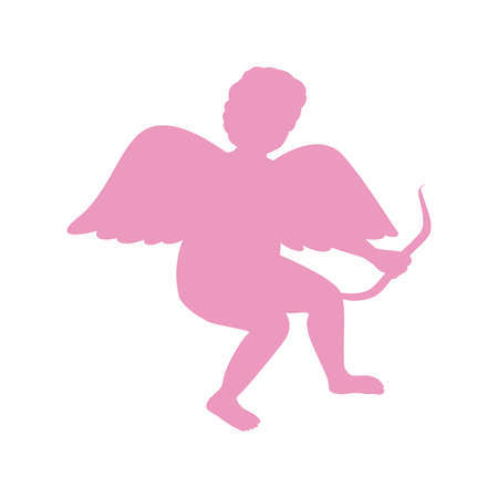 Silhouette Of Cupid. Saint Valentine. The lilac color. Isolated.