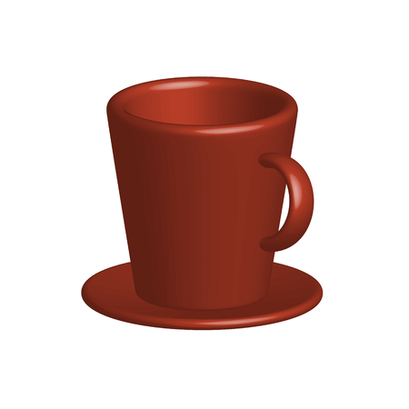 Illustration pour Vector Realistic, colorful drawing of a bright 3d cup with a saucer of a isolated of on a white backgroundmage - image libre de droit