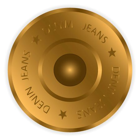 Illustration pour Vector drawing, icon, bronze metal button with inscription jeans, isolated on white - image libre de droit