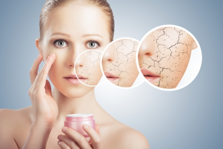 Photo pour concept of cosmetic effects, treatment and skin care.  face of young woman with dry skin - image libre de droit