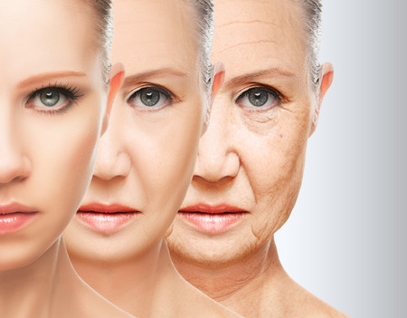 Foto de beauty concept skin aging. anti-aging procedures, rejuvenation, lifting, tightening of facial skin, restoration of youthful skin anti-wrinkle - Imagen libre de derechos