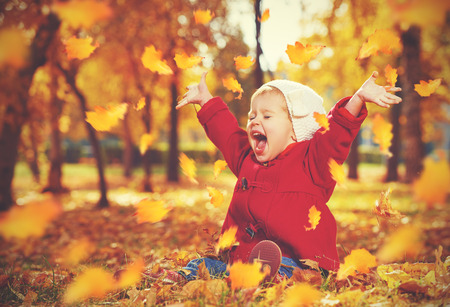 happy little child, baby girl laughing and playing in the autumn on the nature walk outdoorsの写真素材