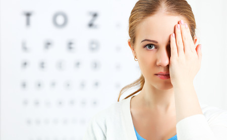 Photo for eyesight check. woman  at the doctor ophthalmologist optician - Royalty Free Image
