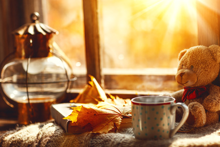 Foto per Autumn still life. A window, hot tea mug book and a teddy bear - Immagine Royalty Free
