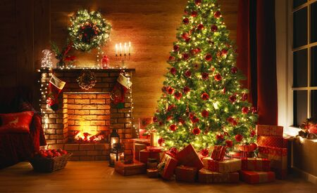 Photo for interior christmas. magic glowing tree, fireplace, gifts in  dark at night - Royalty Free Image