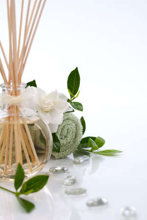Aromatic spa set - Reed Diffuser and fresh gardenia flowers.