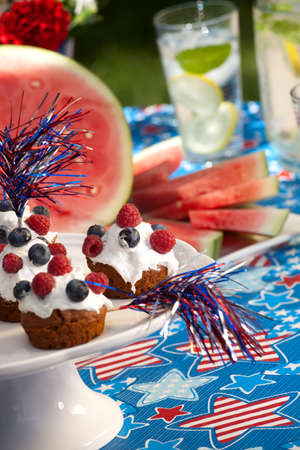 Cornbread and muffins on 4th of July in patriotic theme