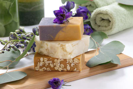 Spa set - assorted aromatic organic handmade soap, fresh Delphinium flowers, and eucalyptus leaf  Best suited for relaxing and health commercials