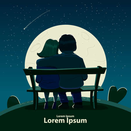 Photo pour Valentine's Day card, vector illustration, happy couple sitting on a bench, love, hugs, cartoon characters, romantic date, night, moon, stars - image libre de droit