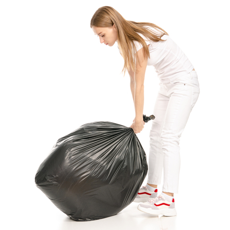 Photo pour Woman in hand trash bag isolated on white background. - image libre de droit