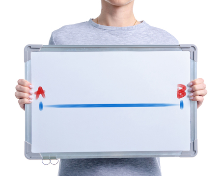 Photo pour line from point A to point B on marker whiteboard in hand isolated on white background - image libre de droit