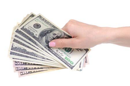 Photo pour Money dollars in hand - image libre de droit