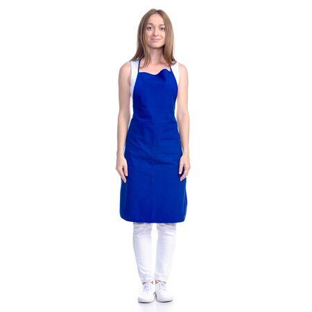 Photo pour Woman in blue apron smile - image libre de droit