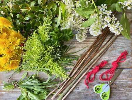 Branches with leaves and flowers, ready for creative weaving,