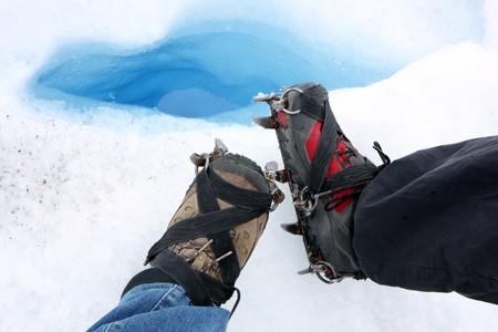 Glacier trecking crampons on boots  in Perito Moreno in Patagonia