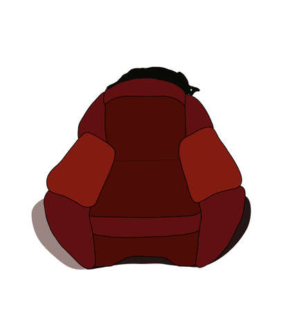Cat stretched out on the back of chair and flashing eyes. Vector illustration.