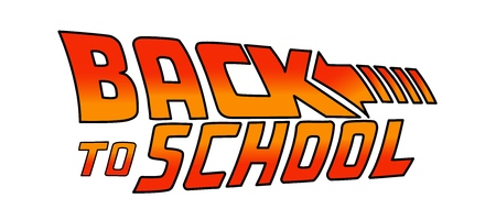 Illustration pour 04/25/2019: Back to School Logo. Welcome sign. Vector illustration based on the movie: Back to the Future - image libre de droit
