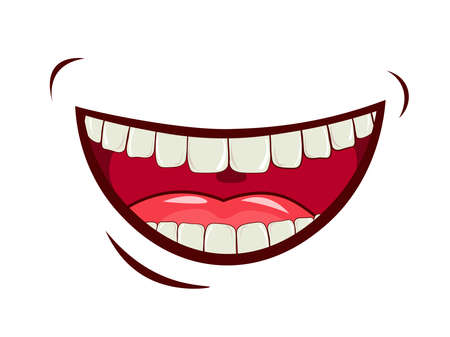 Illustration for Charming smile, emotional expression of feelings, laughter, joy. Wide open mouth, upper and lower jaw, oral cavity with tongue. Caring for a healthy oral cavity, white teeth. vector image. - Royalty Free Image