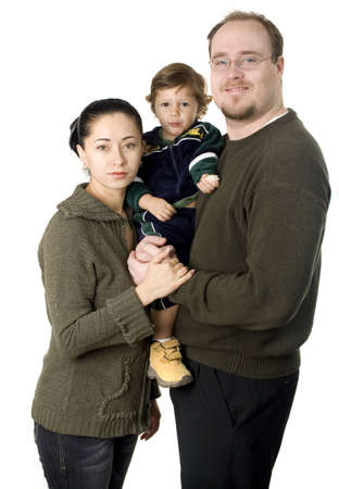 Interacial couple with small  boy smiling isolated