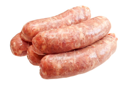 Photo pour Raw meat sausages isolated on white background - image libre de droit