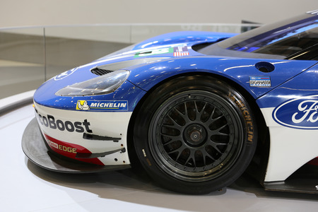 ISTANBUL, TURKEY - APRIL 22, 2017: Le Mans 24 Hours Ford GT on display at Autoshow Istanbul