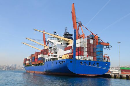Photo for Container Ship is loading in a port - Royalty Free Image