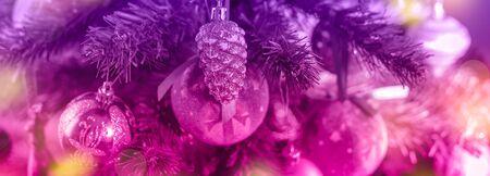 Foto de Xmas decor toy balls snowflake cone sequins star snowflake. - Imagen libre de derechos