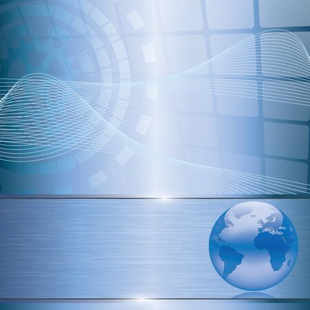 Abstract blue business background with earth globe