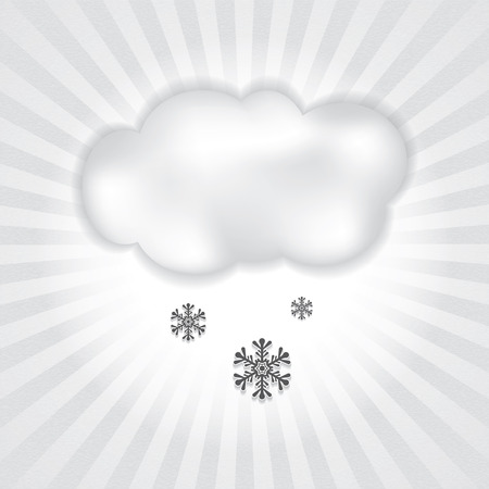 Abstract winter silver cloud and falling snowflakes background
