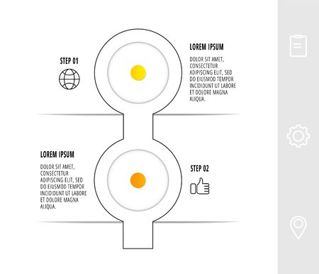 Illustration pour Infographic circular with 2 steps, parts, icons. Flat line vector template. Can be used for diagram, business, web, workflow layout, presentations, flow chart, info graph, timeline, content, levels. - image libre de droit