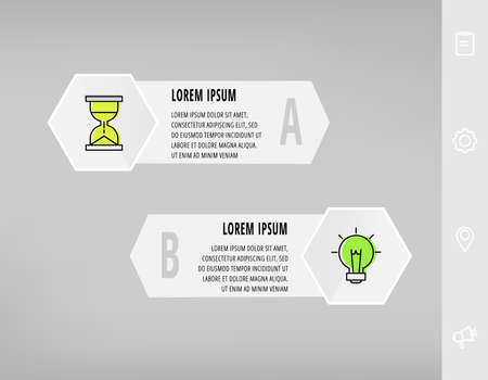 Illustration pour Infographics with 2 hexagons, arrows. Modern vector template. Can be used for two diagrams, business, web, banner, workflow layout, presentations, flowchart, info graph, timeline, levels, chart - image libre de droit