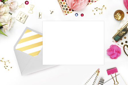 Photo for Wedding background. Mock-up for your photo or text Place your work. Woman desktop, template card, Peonies and gold stationery. Gold Polka. Header website or Hero website - Royalty Free Image