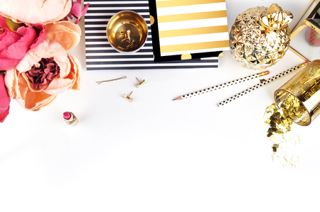 Gold & Black. Header website or Hero website, Mockup product view table gold accessories. Flat lay. Workspace. Background mock-up. Peonies in vase
