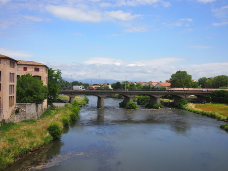 Bridge over River Aude in Carcassonne in summer